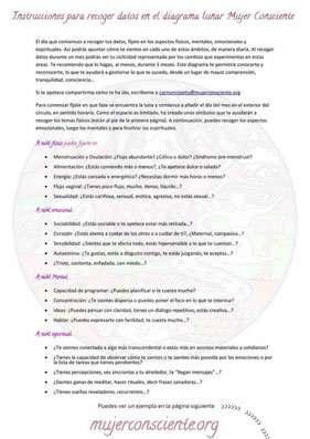 Instrucciones para recoger los Datos del Diagrama Lunar Mujer Consciente